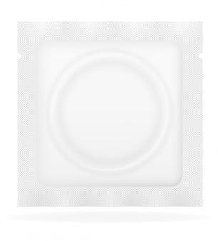 Preservativo nell'illustrazione bianca di vettore del pacchetto