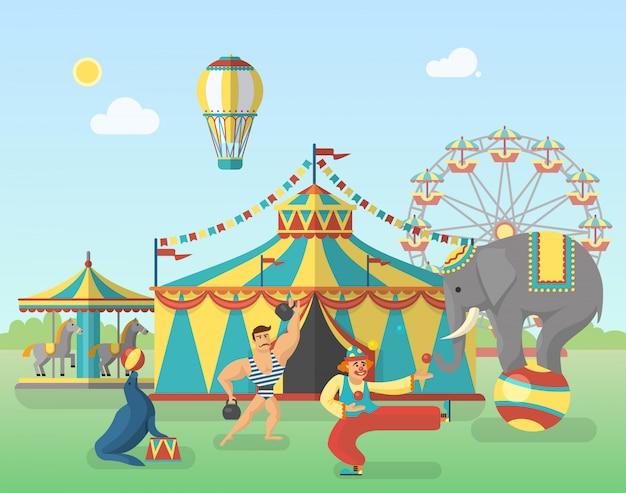 Prestazioni del circo nell'illustrazione del parco