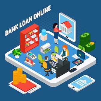 Prestiti composizione isometrica con pezzi di mobili per ufficio banca e impiegati sulla parte superiore del tablet