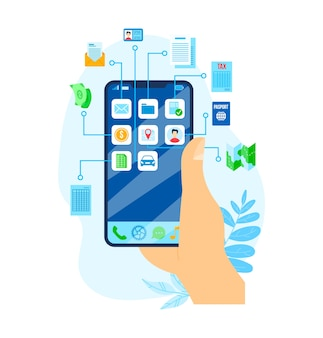 Prestito di denaro, illustrazione bancaria dello smartphone di finanza economica. investimento finanziario aziendale e concetto di sicurezza. reddito valutario e crescita