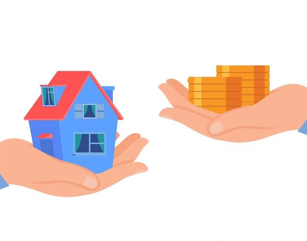 Prestito immobiliare, illustrazione piana di vettore di affitto della casa