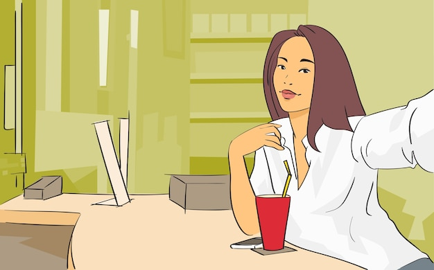 Pretty girl video blogger prendendo selfie cafe interno