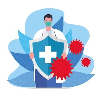 Prevenzione covid 19, medico che indossa una maschera medica con illustrazione di protezione dello scudo