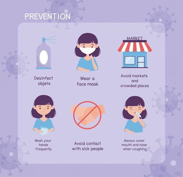 Prevenzione dei virus coronavirus infografica con icone e testo