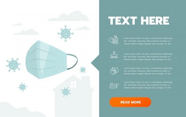 Prevenzione dell'illustrazione infographic del manifesto della maschera igienica covid-19. volantino sulla protezione del coronavirus