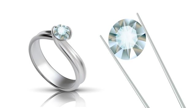 Prezioso anello in platino con gemma rotonda