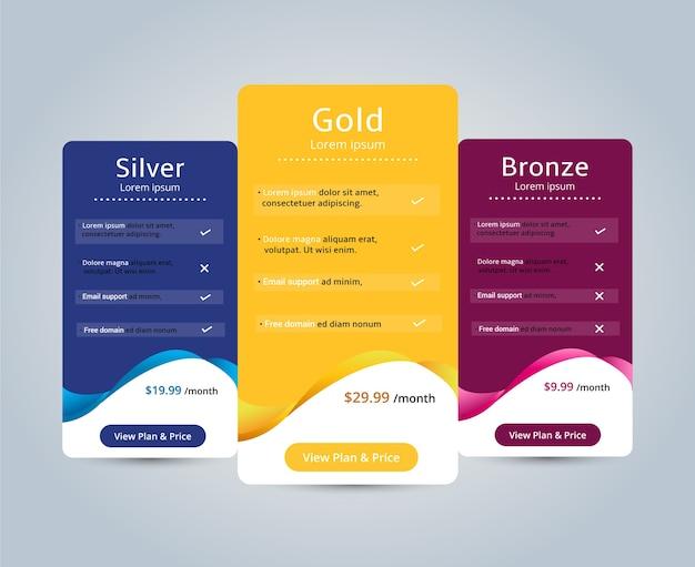 Prezzi dell'host per banner sito web piano. illustrazione vettoriale