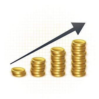 Prezzi in aumento per il grafico del concetto d'oro
