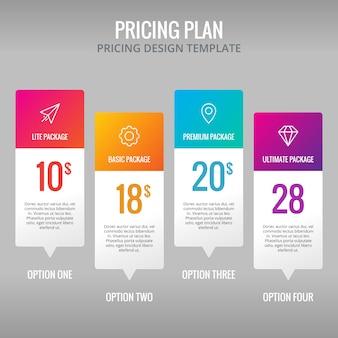 Prezzi modello di piano infografica elemento di design