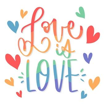 Pride day lettering con amore e cuori