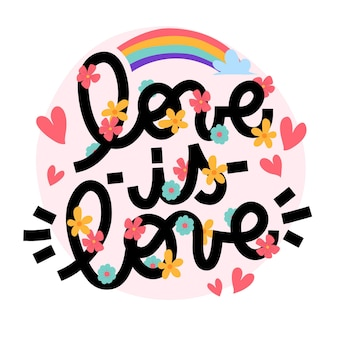 Pride day lettering con arcobaleno