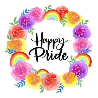 Pride day lettering con ghirlanda di fiori