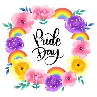 Pride day lettering con ghirlanda floreale