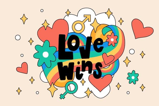 Pride day lettering concetto di messaggio