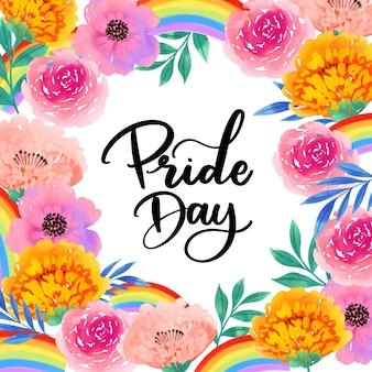 Pride day lettering fiori ad acquerelli