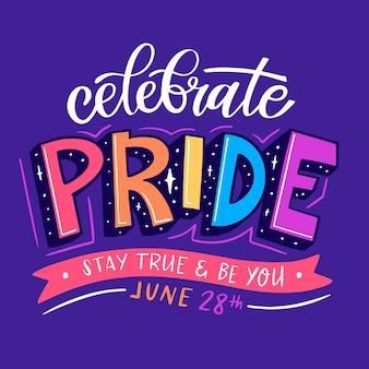 Pride day lettering su sfondo viola