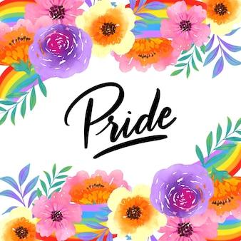 Pride lettering fiori ad acquerelli