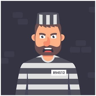 Prigioniero in una cella. uniforme a strisce. personaggio su uno sfondo scuro illustrazione vettoriale.