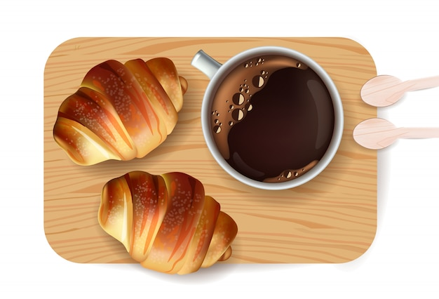Prima colazione dolce del dessert del modello del croissant
