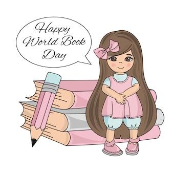 Prima ragazza giornata mondiale del libro per bambini