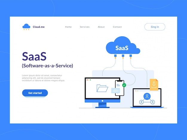 Prima schermata della pagina di destinazione di saas o software as a service. accesso online remoto allo schema dei servizi delle applicazioni cloud. ottimizzazione del processo aziendale per startup, piccole aziende e imprese.