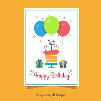 Prima torta di compleanno con saluto di coriandoli