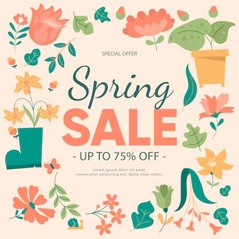 Primavera design piatto offre giardinaggio e fiori