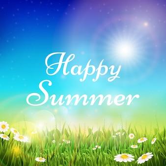 Primavera ed estate sfondo con erba verde e cielo sole splendente.