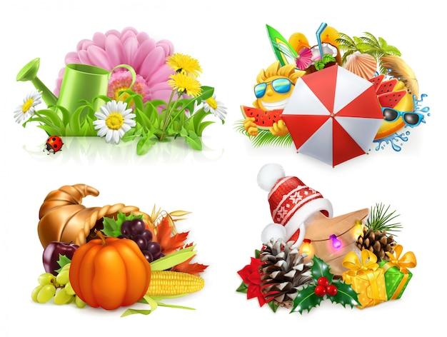Primavera estate autunno inverno. concetto di quattro stagioni, insieme 3d