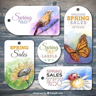 Primavera etichette di vendita animali