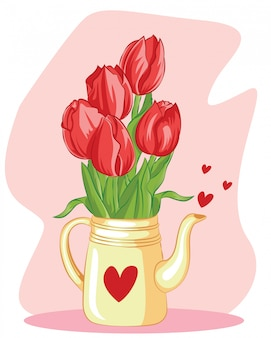 Primavera fiore tulipano nella teiera con amore