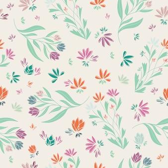 Primavera floreale multicolor seamless pattern rosa verde blu crema arancione