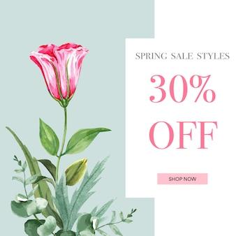 Primavera social media cornice fiori freschi, carta di decorazione con giardino colorato floreale, matrimonio, invito