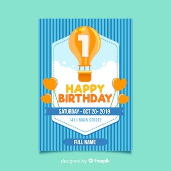 Primo biglietto a palloncino piatto di compleanno