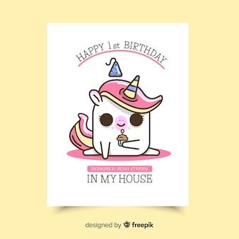 Primo biglietto d'invito di compleanno con carattere adorabile