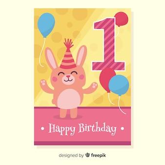 Primo compleanno coniglio con cappello di saluto