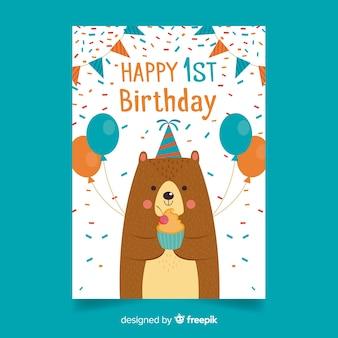 Primo compleanno, coriandoli, orso, saluto