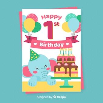 Primo compleanno felice saluto elefante