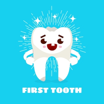 Primo dente. cartone animato carino dente illustrazione vettoriale