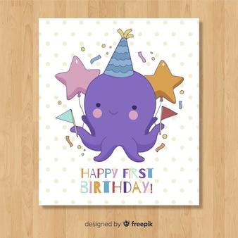 Primo design della carta di compleanno