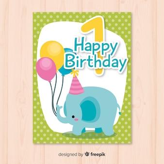 Primo elefante di compleanno con palloncini saluto