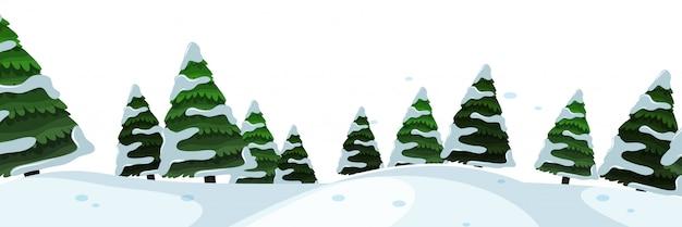 Primo piano con scena di neve