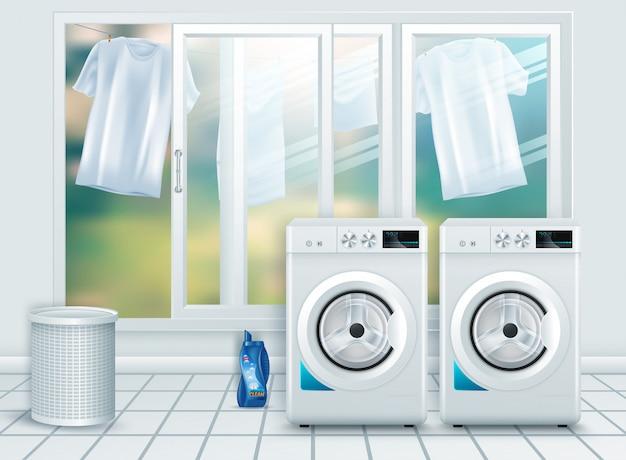 Primo piano moderno realistico della lavatrice dell'acciaio bianco