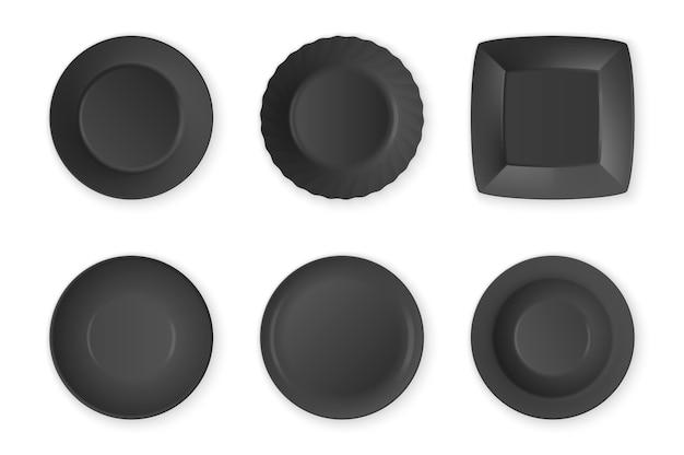 Primo piano stabilito dell'icona vuota del piatto dell'alimento nero realistico su fondo bianco. utensili da cucina per mangiare. modello, modello per grafica, stampa ecc. vista dall'alto