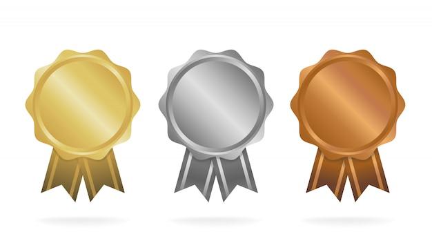 Primo posto. secondo posto. terzo posto. set di medaglie premio isolato su bianco con nastri e stelle. illustrazione vettoriale