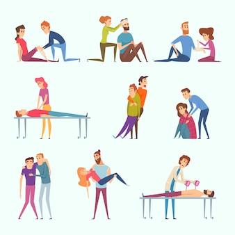 Primo soccorso d'emergenza. illustrazioni mediche della persona danneggiata delle vittime di ferimento della strada di incidente