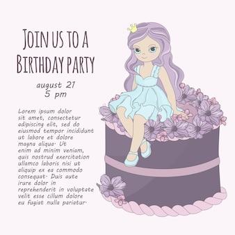 Princess cake birthday party girl