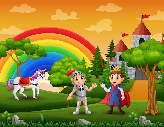 Principe e cavaliere all'aperto con uno sfondo di castello