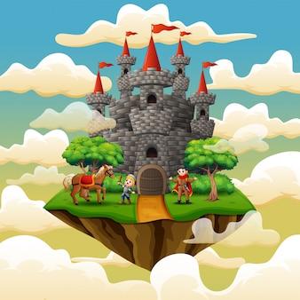 Principe e piccolo cavaliere in un castello sulla nuvola