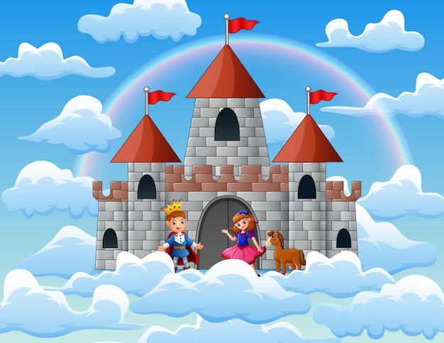 Principe e principessa in un palazzo delle fiabe sulle nuvole